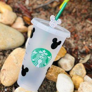 Disney Starbucks Venti cold cup with straw topper